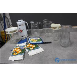 Glass Pitchers, Cannisters & Towel Sets