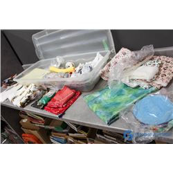 **Bucket of Fabric & Craft Pieces
