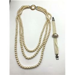 VINTAGE FAUX PEARL LAYERED NECKLACE WITH