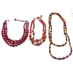 2-VINTAGE NECKLACES:  (2)WITH RED LAYERED