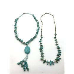 2-VINTAGE TURQUOISE BEADED NECKLACES