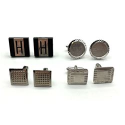 4-PAIRS OF SILVER TONED MENS CUFF LINKS