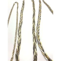 3-SILVER/GOLD TONED BRAIDED NECKLACES
