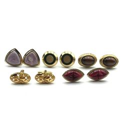 5-PAIRS OF GOLD TONED MENS CUFF LINKS