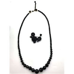 VINTAGE BLACK BEADED NECKLACE PLUS BLACK