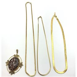 3-GOLD TONED CHAINS PLUS BONUS LARGE CIRCULAR