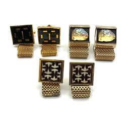 3-PAIRS OF VINTAGE GOLD TONED MENS CUFF LINKS