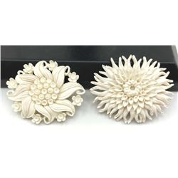 2-VINTAGE WHITE CELLULOID FLOWER BROOCHES
