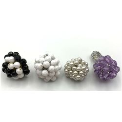 4-VINTAGE STRETCHY RINGS WITH BEAD CLUSTER
