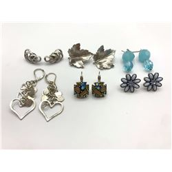 6-PAIRS OF SILVER TONED PIERCED EARRINGS