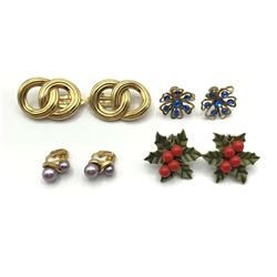 4-VINTAGE CLIP ON EARRINGS: (1)CORO FLOWER