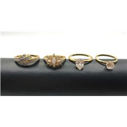 4-GOLD TONED FASHIOIN BLING RINGS