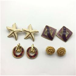 4-PAIRS OF VINTAGE GOLD TONED EARRINGS