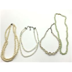 4-VINTAGE BEADED NECKLACES: (1)JADED (2)CLEAR