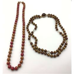 2-VINTAGE BEADED NECKLACES: (1)LOOKS TO BE