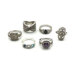 5-SILVER TONED FASHION RINGS WITH RHINESTONES