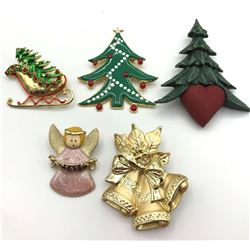 5-GOLD TONED CHRISTMAS BROOCHES