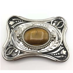 LARGE SILVER TONED MENS BELT BUCKLE WITH