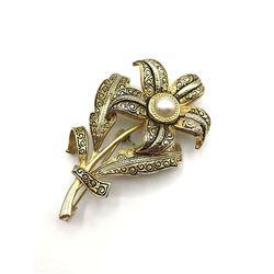 VINTAGE SPAIN MARKED GOLD TONED FLOWER