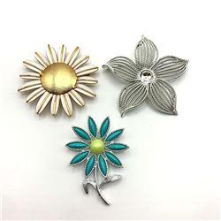 3-VINTAGE FLOWER BROOCHES: (1)SARAH COV