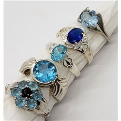 5-STERLING BLING RINGS ALL WITH BLUE STONE