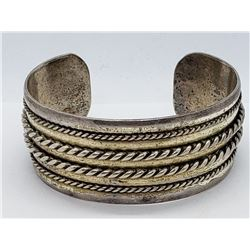 VINTAGE STERLING CUFF BRACELET WITH ROPE STYLE
