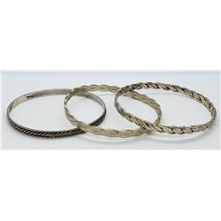 3-VINTAGE STERLING BANGLES (1)MARKED TAXCO