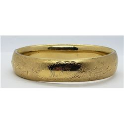 GORGEOUS GOLD TONED STERLING HINGED BANGLE
