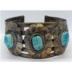 VINTAGE SPLIT SHANK CUFF BRACELET WITH JAPANESE