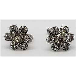 PAIR OF VINTAGE STERLING RHINESTONE TWIST