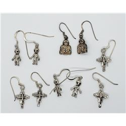5-PAIRS OF PIERCED DAGLY EARRINGS-CROSS-