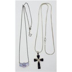 2-STERLING NECKLACES WITH AMETHYST PENDANTS