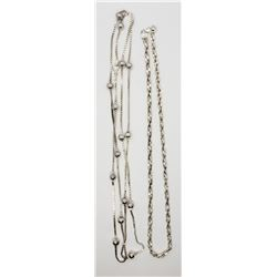 2-STERLING NECKLACES/CHAING: (1)36 INCH ITALY