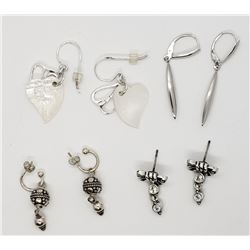 4-PAIRS OF STERLING DANGLY EARRINGS