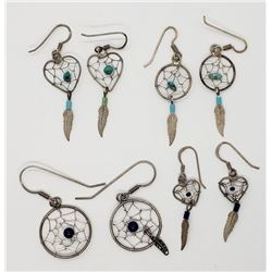 4-PAIRS OF DANGLY DREAMCATCHER EARRINGS
