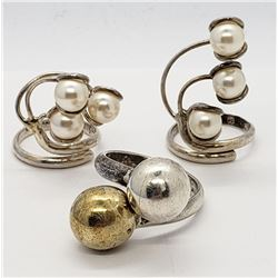 3-MEXICO STERLING RINGS: (2)WITH PEARL CLUSTERS