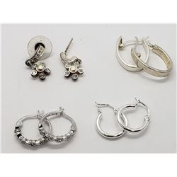 4-PAIRS OF STERLING PIERCED EARRINGS (2)W/CLEAR