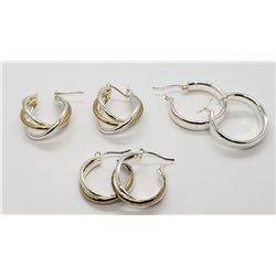 3-PAIRS OF STERLING HOOP PIERCED EARRINGS
