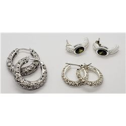 3-PAIRS OF STERLING PIERCED EARRINGS (2)HOOP