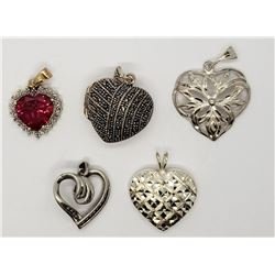 5-STERLING HEART PENDANTS-(1)MARCASITE LOCKET