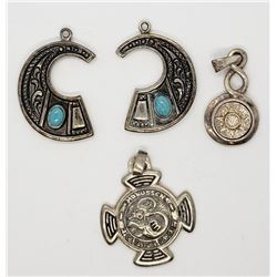 4-NAVAJO STYLE PENDANTS WITH ENGRAVED AZTEC