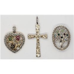 3-STERLING PENDANTS: (1)CROSS (1)HEART WITH CZ &