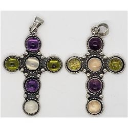 2-STERLING CROSS PENDANTS WITH PINK-GREEN-