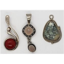 3-VITNAGE STERLING PENDANTS W/ STONE ACCENTS!