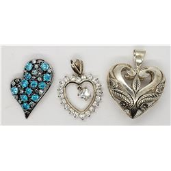 3-STERLING HEART PENDANTS: (1)BLUE STONES (1)FILIG