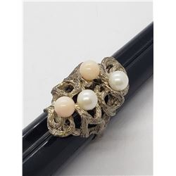 VINTAGE 925 HOMEMADE RING WITH FAUX PEARL