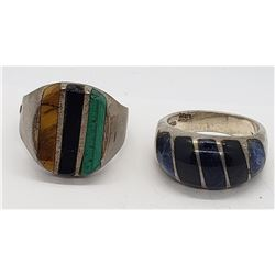 2-MEXICO STERLING MEN'S RINGS W/ INLAY DESIGN