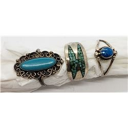 3-STERLING NAVAJO RINGS-TURQUOISE STONE/INLAY