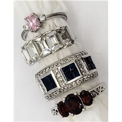 4-STERLING BLING RINGS-RUBY RED-PINK-NAVY-CLEAR