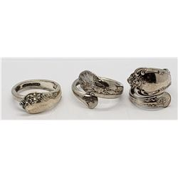 3-VINTAGE STERLING SPOON RINGS